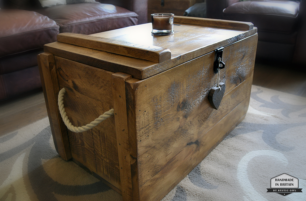 Wooden storage trunk rustic owl for Coffee tables 80cm wide