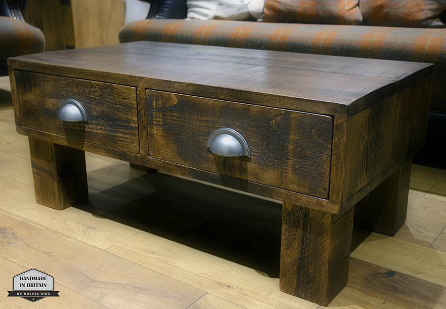Push Pull Drawer Coffee Table Rustic Owl