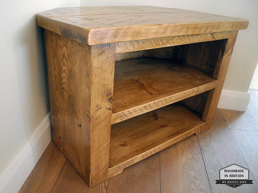 Chunky Corner TV Stand | Rustic Owl