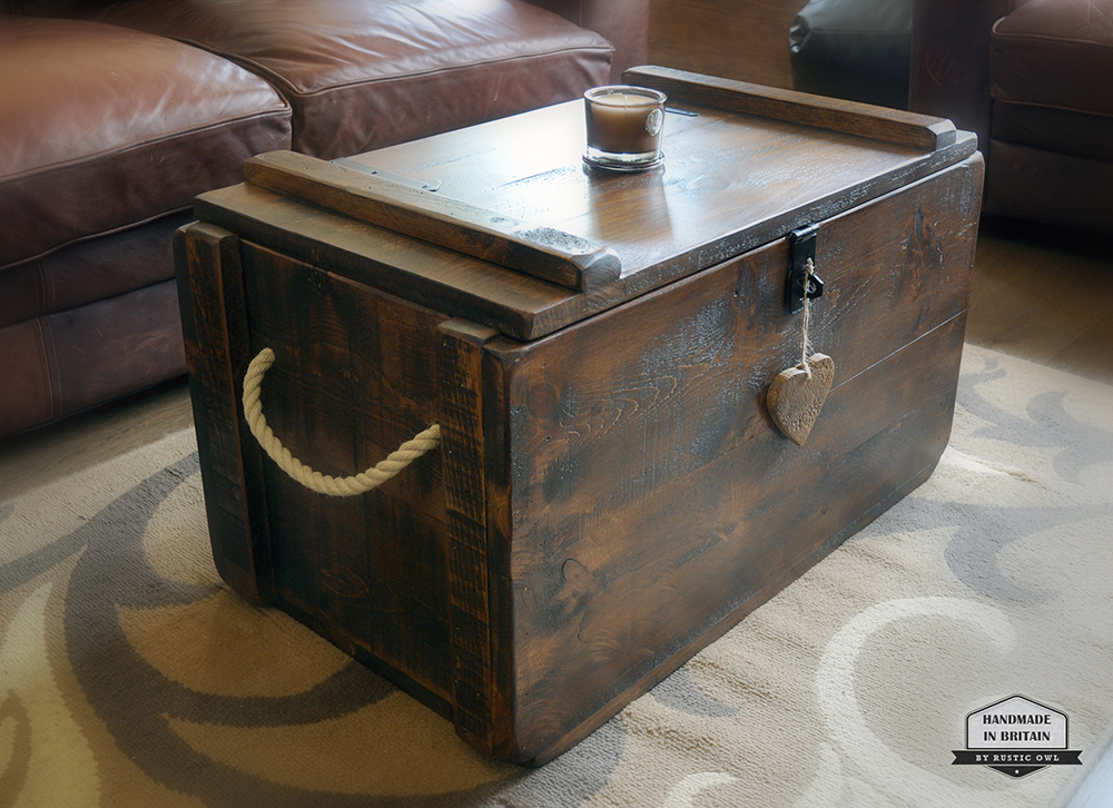 tudor oak chest & Wooden Storage Trunk | Rustic Owl