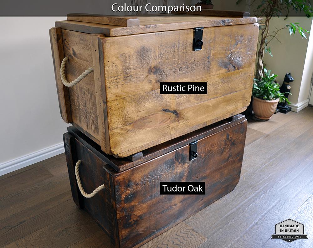 Wooden Storage Trunk Rustic Owl